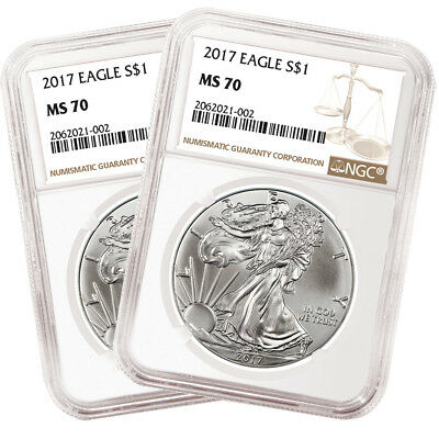 Lot of 2 - 2017 American Silver Eagles 1oz .999 NGC MS70 Brown Label