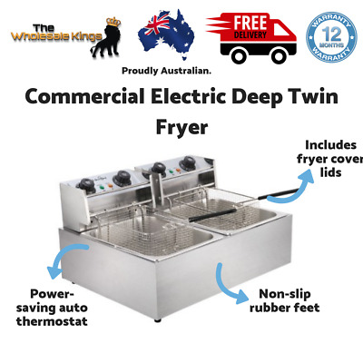 Commercial Quick-Heat Double Basket 5 Star Chef Electric Twin Deep Fryer Silver