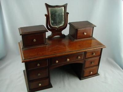 Victorian Apprentice Piece Miniature Dressing Chest, Mirror & 9 Opening Drawers