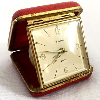 Vintage 70's EUROPA 2 Jewels German Folding Travel Alarm Clock Red Case Wind Up