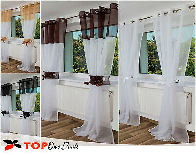 2x VOILE CURTAIN PANEL READY MADE EYELET RING TOP WHITE BROWN BEIGE NEW
