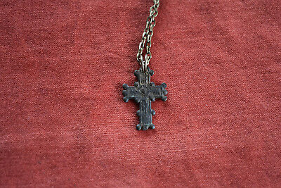 Ancient Roman Bronze Cross - 2.6g made on necklace