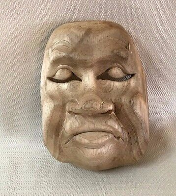 Vintage Wooden Asian Theater Mask Wall Art #5 Wood Hand Carved  OOAK