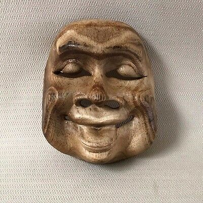 Vintage Wooden Asian Theater Mask Wall Art #1 Wood Hand Carved  OOAK