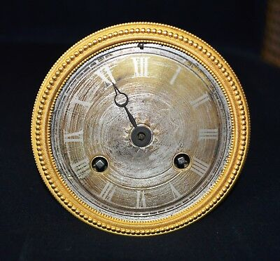 Antique French Twin Train Clock Movement with Silvered Dial Gilt Bezel Working