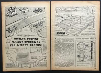 3 Lane Track for Spindizzies Tether Race Cars 1941 How-To build PLANS 1/16 mile