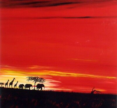 KEITH P SHAW Acrylic Painting Elephants & Giraffes Red Sunset *FINAL REDUCTION