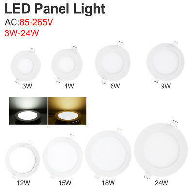 Cool/Warm White LED Recessed Panel Light Round Ceiling Lamp 3/6/9/15/18/24W E9A