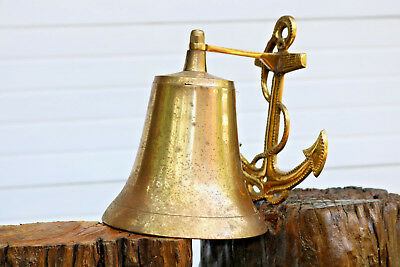 """Solid Brass Ship's Bell Largel 5"""" Nautical Doorbell Wall Solid LOUD Ring Anchor"""