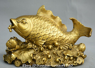 Collect Chinese fengshui old bronze fish lotus flower lucky auspicious Statue