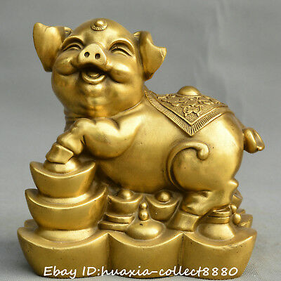 Collect Chinese fengshui old bronze Zodiac pig yuanbao lucky auspicious Statue
