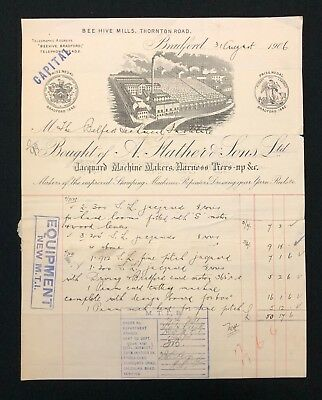 Vintage Billhead / Invoice, A. Flather & Sons - Jacquard Machines Bradford 1906