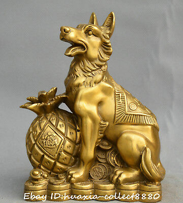 Collect Chinese fengshui old bronze Zodiac dog moneybag coin auspicious Statue