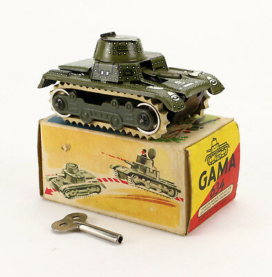 GAMA 634 Tank Blech Panzer Uhrwerk OVP 50's Vintage Wind Up Tin Toy Boxed