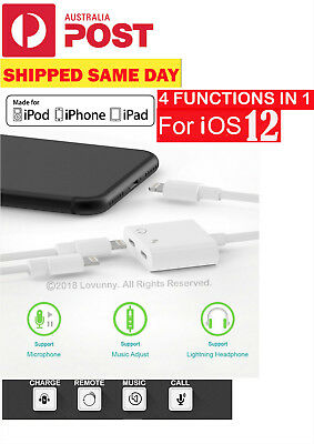 Apple Dual Lightning AUX Adapter Charge with Earphone  For iPhone 7 8 X XS Max P