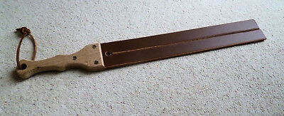 """2 tail TAWSE Leather Hardwood handle Pro8mm thick 64mm x 510mm (2½""""x20"""") (cane)"""