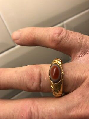Roman Mans Gold & Agate Ring 3rd centuryGB Size W 200-300 AD