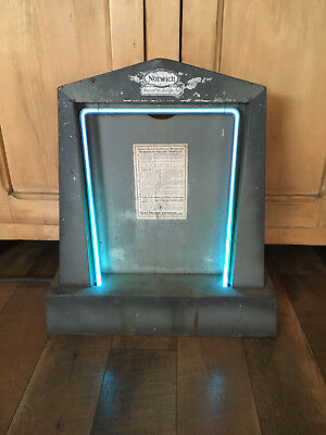 RARE ANTIQUE c1920's NORWICH ARGON COUNTER ADVERTISING DISPLAY- NEON LIGHT WORKS