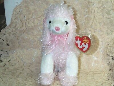 "TY beanie baby babies Divalightful Poodle Dog 11-6-2005 White & Pink 5 3/4"" Tall"