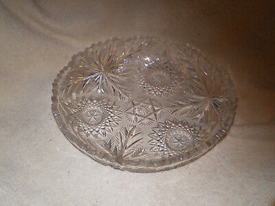 """Leaded Cut Crystal Shallow Low Bowl 8""""D, Vintage, NMM, Sawtooth Edge"""