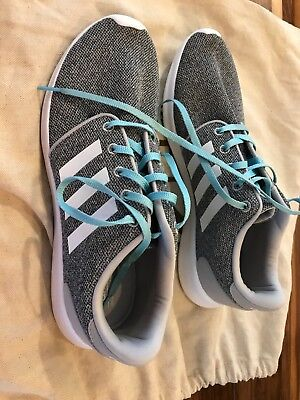 NEW Women's Adidas Neo Cloudfoam QT Racer Gray Running Sneakers AW4313 Size 10