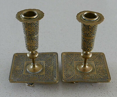 Pair of Heavily Embossed Aesthetic Period Brass Candlesticks - Horse & Horsemen