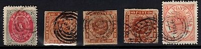 Five old Danish stamps 4sk Mi#4,7,9,13 and 18 All fine used CV $65