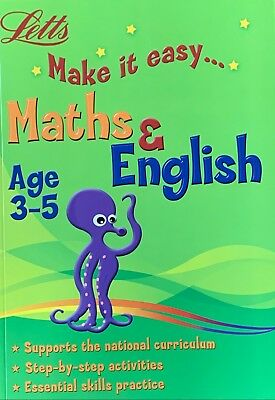 Letts Make it easy Age 3-5 Years Maths and English, New Curriculum, Latest