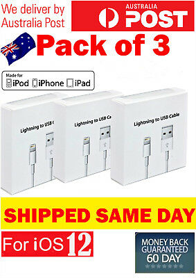 3X Apple Lightning Cable Charger Compatible Genuine iPhone 7 Plus 6 5 S 8 X iPad