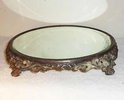Antique Art Deco Cast Metal Raised Footed Beveled Round Victorian Vanity Mirror