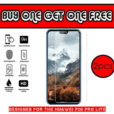 100% Genuine Shock Tempered Glass Screen Protector Clear for Huawei P20 Pro Lite