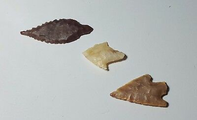 Three Ancient Egyptian Neolithic Arrow Heads
