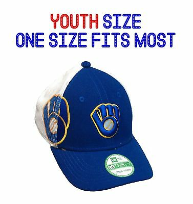 buy popular aa3ea 6f069 Milwaukee Brewers Cap Youth Child Hat New Era 39THIRTY NEW Embroidered Mesh  Back