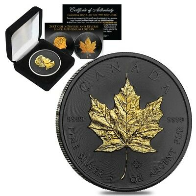 2019 1 oz Canadian Silver Maple .9999 Fine $5 Coin Black Ruthenium (w/Box & COA)