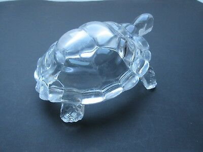 Vintage  Crystal D'Arques ? glass tortoise animal paperweight ornament