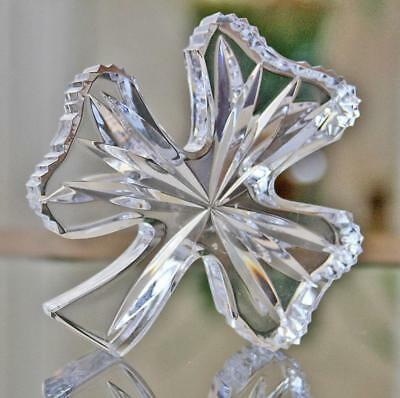 Signed Waterford Crystal Art Irish Shamrock Clover Paperweight - Mint in Box