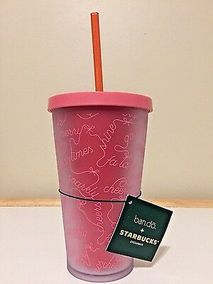 Starbucks 2018 PINK & RED Holiday BAN.DO Cold Cup Tumbler 16 oz LIMITED EDITION