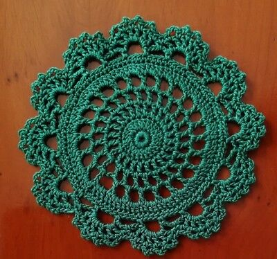 Crochet Cotton Doily / Coaster 11cm Green Circle and Lace