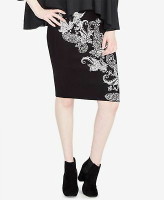 5652781d46c5 RACHEL ROY  89 Womens New 1080 Black Paisley Knee Length Pencil Skirt M B+B