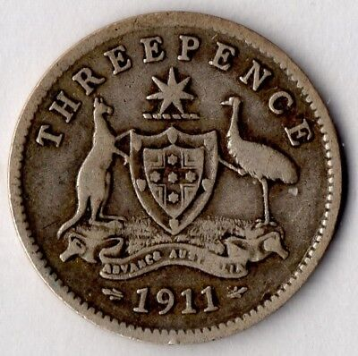 1911 Threepence Australia - VG - Very Good circulated (92.5% Sterling Silver)