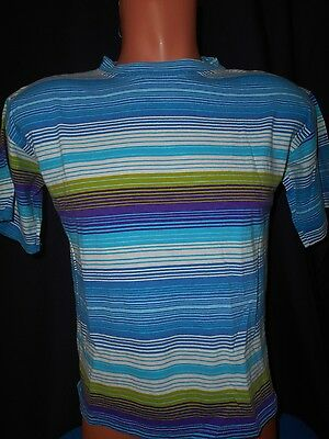 Vtg 80s Tomato Brand Striped Shirt Sz Youth L Made In USA Surf Rare Multi-Color