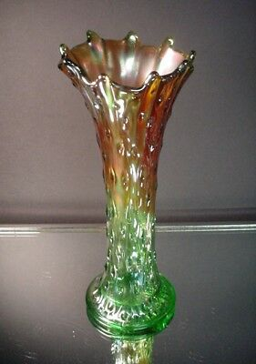 "Northwood Carnival Glass 10.5"" Ht Green Marigold Tree Trunk Raindrops Vase"