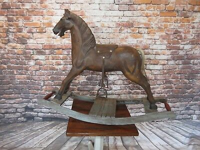 Antique Hand Carved Wood Rocking Horse Folk Art Ride On Primitive Display Horse