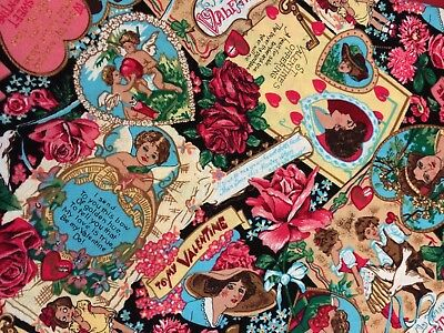 Vintage Valentines Images Cotton Fabric Sew Quilt Craft Hearts