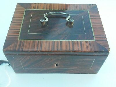Vintage 19th Century Strong Box / Cash Box Heavy Steel Faux Wood Paint & Key