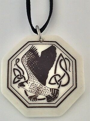 Falcon Bird Pendant Handcrafted Porcelain Octagon Birds of Prophecy Amulet USA