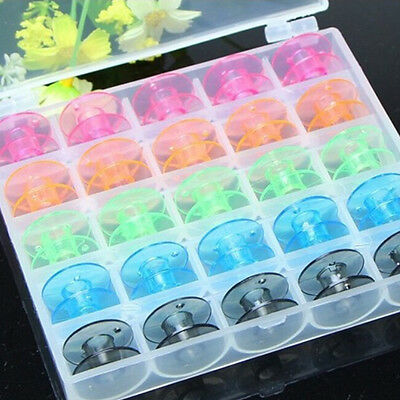 25PCS Colors  Sewing Machine Empty Bobbin Case in Box for Brother Singer uuy