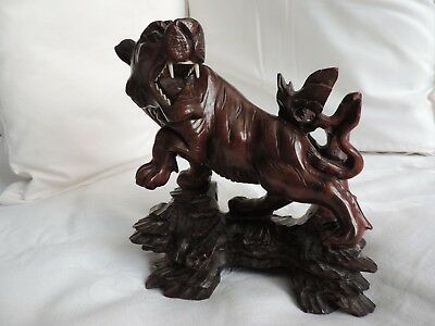Antique Vintage Chinese Oriental Carved Wooden Rosewood Hardwood Lion Ref93