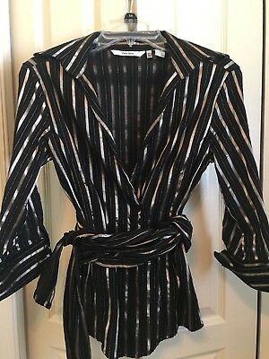 a2f675837e Zara-Women Top Long Sleeves-Stripes Black and Gold-Wrap Front Or Back