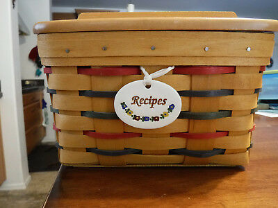 Rare! Longaberger Woven Traditions Recipe Basket w/ lid, cards, dividers & more
